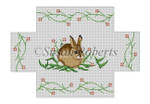 """0355 Bunny. brick cover#'13 Mesh 8 1/2"""" x 4 1/2"""" x 2 3/4""""  Susan Roberts Needlepoint"""