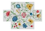 """0352 Jacobean Crewel, brick cover 13 Mesh 8 1/2"""" x 4 1/2"""" x 2 3/4"""" Susan Roberts Needlepoint"""