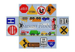 "0389 Vehicle, brick cover #13 Mesh 8 1/2"" x 4 1/2"" x 2 3/4"" Susan Roberts Needlepoint"
