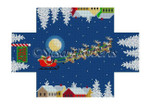 "0397 Santa Over the Roofrops, brick cover 13 Mesh 8 1/2"" x 4 1/2"" x 2 3/4"" Susan Roberts Needlepoint"