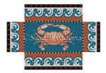 "0393 Crab With Wave border, brick cover 13 Mesh 8 1/2"" x 4 1/2"" x 2 3/4"" Susan Roberts Needlepoint"