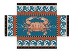 "0393 Crab With Wave border, brick cover 13 Mesh 8 1/2"" x 4 1/2"" x 2 3/4"" Susan Roberts Needlepoint"
