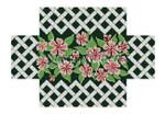 "0365 Pink lnpatients ln Trellis, brick cover 13 Mesh 8 1/2"" x 4 1/2"" x 2 3/4"" Susan Roberts Needlepoint"