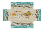 "0366 Sandpipers & Seashells. brick cover 13 Mesh 8 1/2"" x 4 1/2"" x 2 3/4"" Susan Roberts Needlepoint"