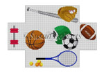 "0368 Sports Equipment, brick cover 13 Mesh 8 1/2"" x 4 1/2"" x 2 3/4"" Susan Roberts Needlepoint"