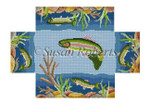 "0378 Riverbed Rainbow Trout, brick cover 13 8 1/2"" x 4 1/2"" x 2 3/4"" Susan Roberts Needlepoint"