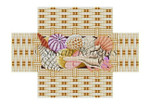 "0382 Seashell Basket brick cover 13 Mesh 8 1/2"" x 4 1/2"" x 2 3/4"" Susan Roberts Needlepoint"