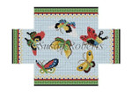 "0390 Chinese Butterflies, brick cover 13 Mesh 8 1/2"" x 4 1/2"" x 2 3/4"" Susan Roberts Needlepoint"