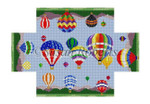 "0392 Hot Air Balloons. brick cover #13 Mesh 8 1/2"" x 4 1/2"" x 2 3/4"" Susan Roberts Needlepoint"