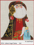8334 Leigh Designs Littlest Angel Santa 18 Count Canvas Russian Santa 5 x 6