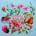 FF297 Floral/Birds Nest 14x11 13M Colors of Praise