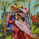 PE162 Woman with Fruit 16x16 13 Mesh Colors of Praise