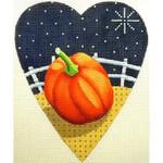 "KB 066 Kirk And Bradley Designs 18 Mesh Midnight Pumpkin Heart  5.25"" x 4.25"""