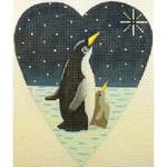 "KB 065 Kirk And Bradley Designs 18 Mesh Midnight Penguin Heart  5.25"" x 4.25"""