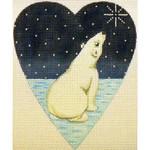"KB 064 Kirk And Bradley Designs 18 Mesh Midnight Polar Bear Heart 5.25"" x 4.25"""