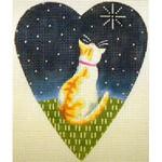 "KB 061 Kirk And Bradley Designs 18 Mesh Midnight Cat Heart 5.25"" x 4.25"""