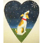 "KB 060 Kirk And Bradley Designs 18 Mesh Midnight Jack Russell Heart 5.25"" x 4.25"""