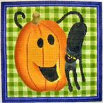 "KB 112  Kirk And Bradley Designs 18 Mesh Pumpkin & Cat 5""&x 5"""