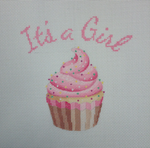 "KB 1199 Kirk And Bradley Designs 18 Mesh Its A Girl Cupcake Standup 8.5"" square"