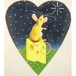 """KB 207 Kirk And Bradley Designs 18 Mesh Midnight Mouse Heart 5.25"""" x 4.25"""""""