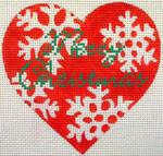"KB 057 Kirk And Bradley Designs 13 Mesh Red Snowflake Heart 5"" x 5"""