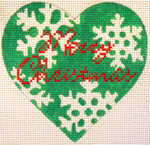 "KB 058 Kirk And Bradley Designs 13 Mesh Green Snowflake Heart 5"" x 5"""