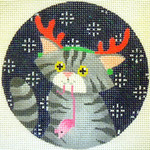 "KB 169 Kirk And Bradley Designs 18 Mesh Tabby Cat Xmas Circle 4"" round"