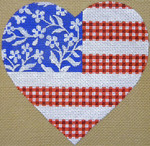 "KB 092 Kirk And Bradley Designs 18 Mesh  Floral Flag- Stars & Stripes Heart  5"" x 5"""