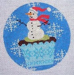 "KB 259 Kirk And Bradley Designs 18 Mesh Christmas Cupcake Snowman 4"" round"