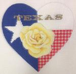 "KB 363 Kirk And Bradley Designs 18 Mesh Texas Rose Heart 5"" x 5"""