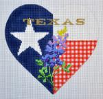 "KB 365 Kirk And Bradley Designs 18 Mesh Bluebonnet Heart Size: 5"" x 5"" Texas"