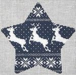 """KB 1190 Kirk And Bradley Designs 18 Mesh Nordic Reindeer Xmas Star Navy 5.5"""" x 5"""""""