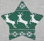 """KB 1191 Kirk And Bradley Designs 18 Mesh Nordic Reindeer Xmas Star Green  5.5"""" x 5"""""""