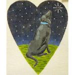 "KB 260 Kirk And Bradley Designs 18 Mesh Midnight Black Labrador Heart 5.25"" x 4.25"""