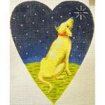"KB 261 Kirk And Bradley Designs 18 Mesh Midnight Golden Labrador Heart 5.25"" x 4.25"""