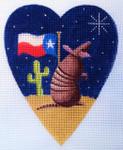 "KB 298 Kirk And Bradley Designs 18 Mesh Midnight Armadillo Heart 5.25"" x 4.25"""