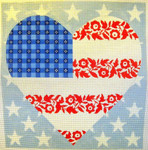 "KB 250 Kirk And Bradley Designs 13 Mesh Floral Flag Stars & Stripes Heart 12"" x 12.5"""