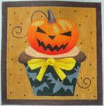 "KB 270 Kirk And Bradley Designs 18 Mesh Pumpkin Halloween Cupcake 5"" square"