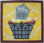 "KB 271 Kirk And Bradley Designs 18 Mesh Gravestone Hallowe'en Cupcake 5"" square"