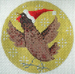"KB 294 Kirk And Bradley Designs 13 Mesh Brown Chicken Xmas Circle 4"" round"