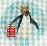 "KB 313 Kirk And Bradley Designs 13 Mesh Penguin Xmas Circle Red 4"" round"