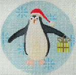 "KB 314 Kirk And Bradley Designs 13 Mesh Penguin Xmas Circle Lime 4"" round"