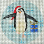 "KB 315 Kirk And Bradley Designs 13 Mesh Penguin Xmas Circle Blue 4"" round"