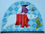 "KB 379 Kirk And Bradley Designs 18 Mesh Polar Bear Snow Dome 5"" x 7"""