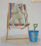 "KB 1162 Kirk And Bradley Designs 18 Mesh Retro Beach- Poodle on Deck Chair  5"" x 5.75"""