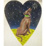 "KB 263 Kirk And Bradley Designs 18 Mesh Midnight Chocolate Labrador Heart 5.25"" x 4.25"""
