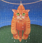 Dryin' in the Rain Cat-Needlepoint Unique New Zealand Designs