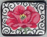 APSZ175 CREDIT CARD  And COIN case  Alice Peterson Stitch And Zip  Poppy on Scrolls