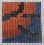 3x3-003 Harvest Moon and Bats Little Bird Designs 18 mesh