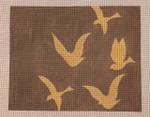 HB-004 Gold Bird Silhouettes on Warm Grey Little Bird Designs Handbagn